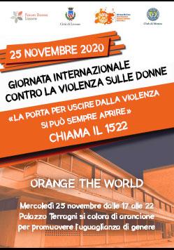 Lissone | Locandina giornata internazionale contro la violenza sulle donne con Palazzo Terragni illuminato di arancio