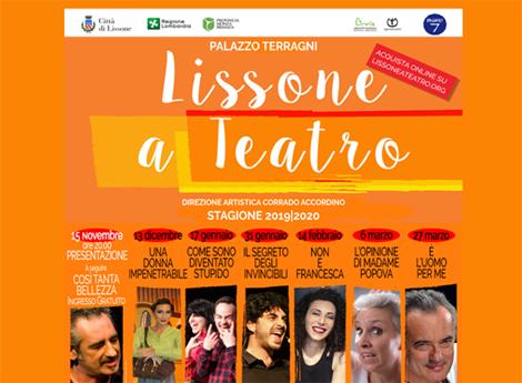"""""""LISSONE A TEATRO"""" - Stagione 2019-2020 - direzione artistica Corrado Accordino"""