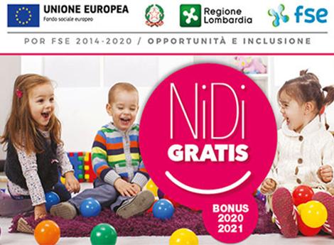 """Misura """"NIDI GRATIS""""  2020/2021 di regione Lombardia"""
