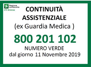 nuovo numero verde continuità assistenziale 800 201 102