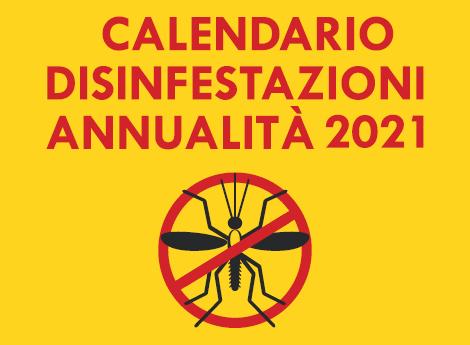Calendario per disinfestazione contro mosche e zanzare