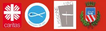 Loghi: Caritas, S. Vincenzo, Pastorale Giovanile Lissone, Città di Lissone
