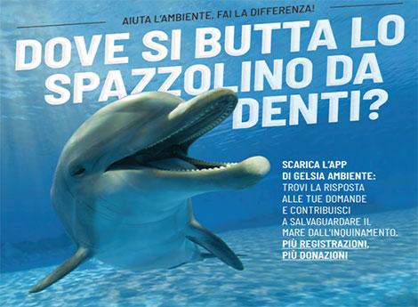 G-App, cartolina di Gelsia Ambiente con delfino