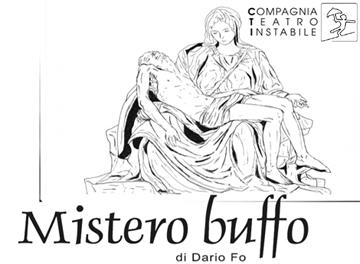 """Frammento locandina spettacolo """"Mistero buffo""""-  rassegna Nonsoloteatro 2019/20"""
