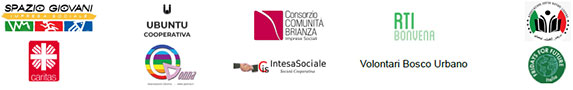 Loghi: Spazio Giovano - Caritas - Ubuntu - Q Donna - Consorzio Comunità Brianza - Intesa Sociale - Rti- Volontari Bosco Urbano - Associazione Centro Giovani Lissone - Fridays for Future Italia