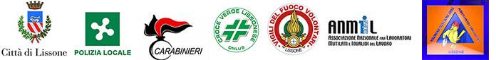 Logo Comune di Lissone, Polizia Locale, Arma carabinieri, Croce verde lissonese, Pompieri volontari Lissone,. Associazione Nazionale Mutilati e Invalidi Lavoro e Protezione Civile Lissone
