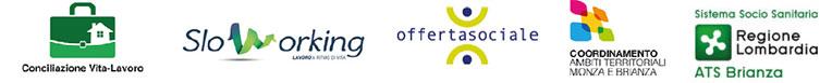 Loghi: Conciliazione Vita-lavoro; SloWorking; Offertasociale; Coordinamento Ambiti Territoriali Monza; ATS Regione Lombardia