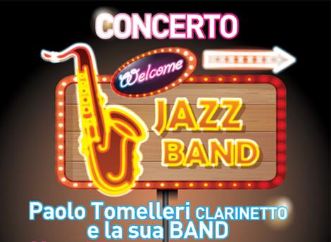 Porzione locandina  Concerto jazz con Paolo Tomelleri  e la sua Band