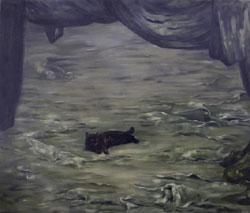 Marisa Favretto:Once in the living room, 2009 - olio su tela, 160x170 cm