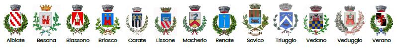 Loghi: Comuni di Albiate, Besana,Biassono,Briosco,Carate,Lissone,Macherio,Renate;Sovico,Triuggio,Vedano,Veduggio,Verano
