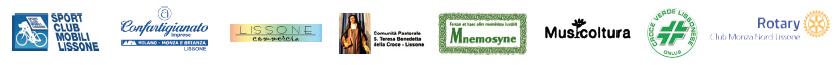Loghi SPORT CLUB MOBILI LISSONE - APA Confartigianato - LISSONE Commercia - Comunità Pastprale S.Teresa Benedetta della Croce Lissone - Mnemosyne - Musicoltura - Croce Verde Lissonese - Rotary Club Monza