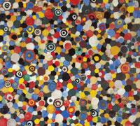 I coriandoli di festa, 2002 - tecnica mista su tela, cm. 100x90