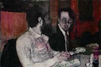 """Premio Lissone 2002 """"radiografia di uno screzio """", 2002 acrilici su tela cm. 100 x 150"""