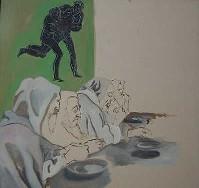 "Immagine premio stima 2004:""I monaci""   2004 olio su carta cm 110 x 97"
