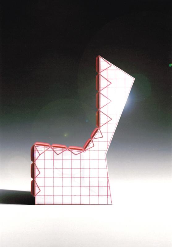 Nicola Toffolini, Studio per poltrona in ceramica (rendering) 2003, stampe a getto di inchiostro 14,8x10,5 cm.
