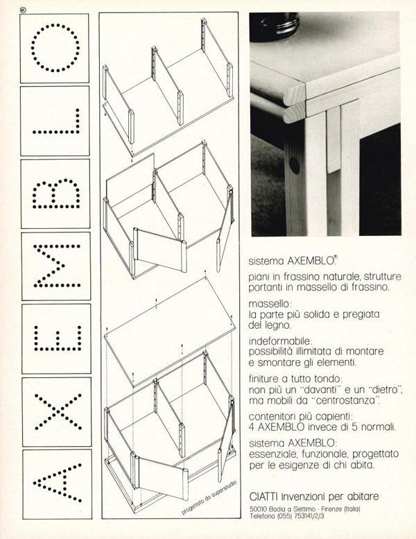 Ciatti - Superstudio - sistema Axemblo