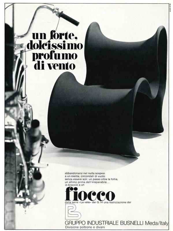 Pubblicità sedia Fiocco, Gruppo Busnelli anni settanta