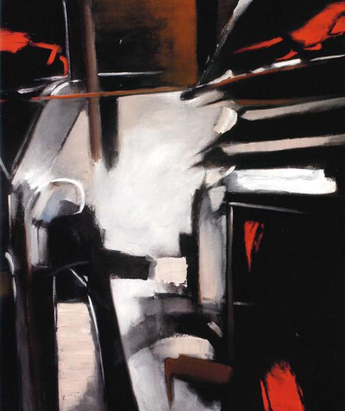Giuseppe Monguzzi, Segrete passioni, 1985, olio su tela, 130 x 120 cm.