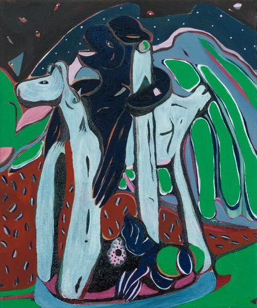 Giulia Mangoni, Giorgio & il Drago di Broccostella (Notturno), 2020, olio su tela, 30 x 25 cm.