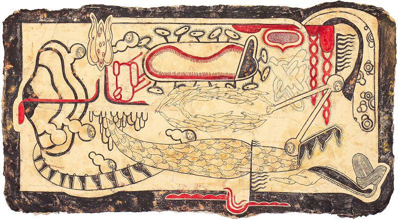 Simone Pellegrini, Mane d'agio, 2020, tecnica mista su carta, 76 x 136 cm.