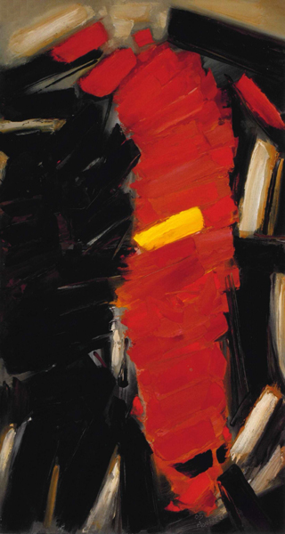 Giuseppe Monguzzi, Ascensione, 2005, olio su tela, 150 x 80 cm.