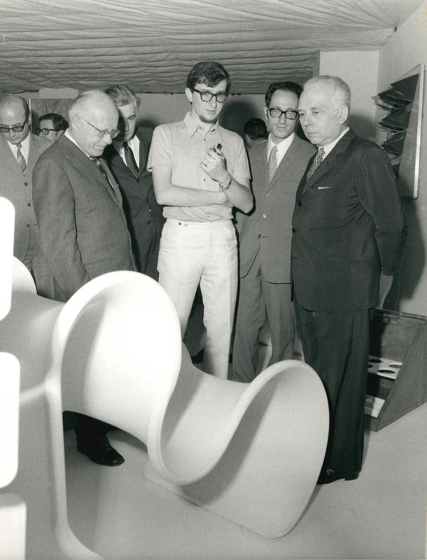 Gianni Pareschi, il Ministro Ripamonti e l'avvocato Brusoni, XV Settimana Lissonese Palazzo del Mobile 1970