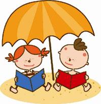 disegno bimbi che leggono sotto ombrellone