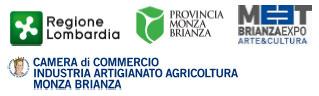 loghi Regione Lombardia; Provincia Monza Brianza; MEET BrianzaExpo Arte&Cultura; Camera di Commercio Industria Artigianato Agricoltura Monza Brianza