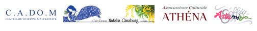 Loghi: C.A.DO.M - Club Donna Natalia Ginzburg - Associazione culturale Athéna - Il Soffio di Artemisia
