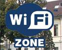 Logo Wi-Fi con foto biblioteca di sfondo