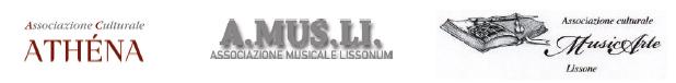Loghi Associazione Culturale Athena - A.MUS.LI. Associazione Musicale Lissonum - Associazione Culturale MusicArte Lissone