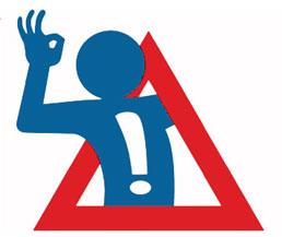 Logo sicurezza stradale con omino che esce da cartello