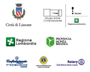 loghi Città di Lissone- Museo d'Arte Contemporanea - Regione Lombardia - Provincia Monza Brianza - Confartigianato Lissone - Lions Club Brianza Lissone - Rotari Club Monza Nord Lissone
