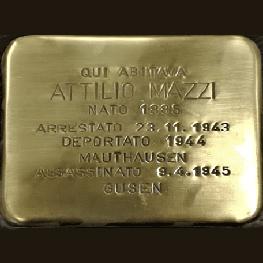 Posa della Pietra d'inciampo dedicata ad Attilio Mazzi