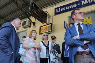 La delegazione nella stazione Lissone-Muggiò