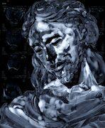 Massimo Pulini, Pneuma interno, 2020, olio su radiografia, 43 x 35 cm.