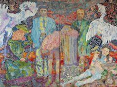 Giuditta Branconi, Decisa, secca, tetra (noblesse oblige), 2020, olio su lino, 150 × 200 cm.