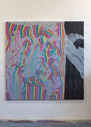 Alexis Harding, The Invisible Hand, 2020, olio e vernice su MDF, 183 x 183cm.